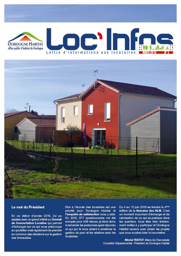 Couverture lettre d'information 4 pages Dordogne Habitat